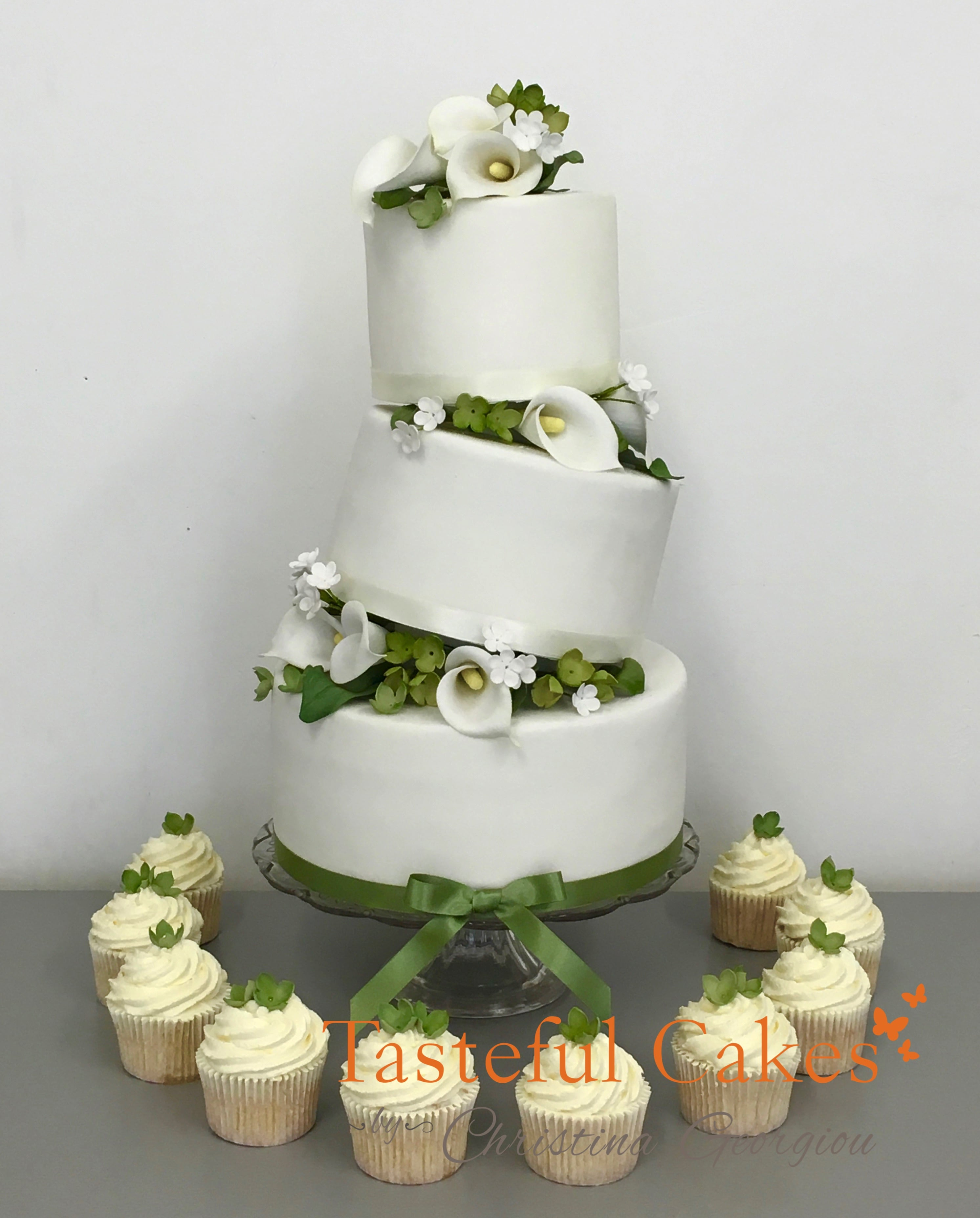 Tasteful Cakes By Christina Georgiou Floral Sage Green Wedding