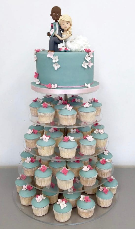 2 tier turquoise and pink flowers wedding cake - cupcake shower.