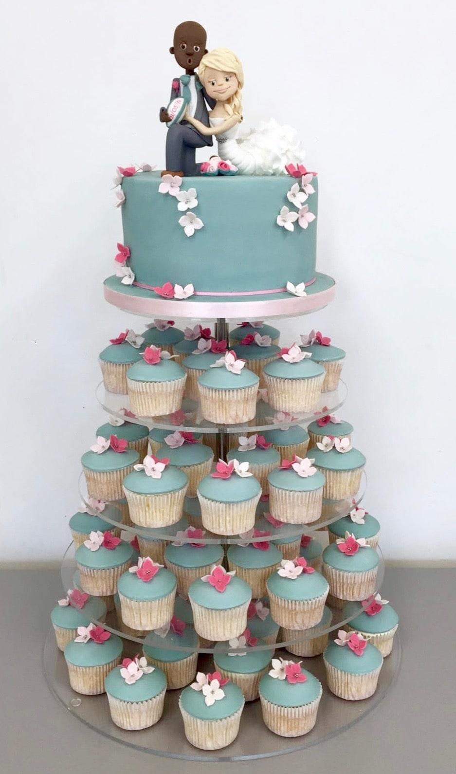 Wedding Cupcakes Towers.Tasteful Cakes By Christina Georgiou Turquoise And Pink Wedding