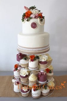 Autumnal floral wedding cake, mini cakes & cupcakes