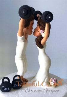 Gym.weight lifting personalised wedding cake toppers