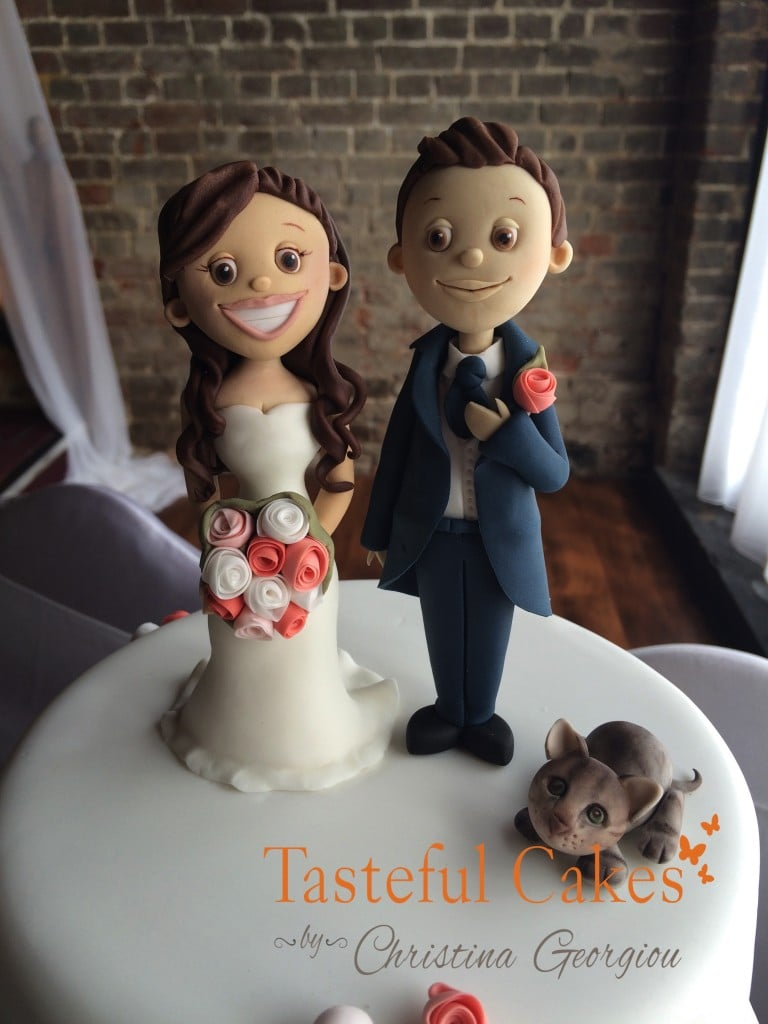 Bride, Groom and Cat wedding cake topper
