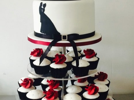 Cupcake Tower, quilted bling and red sugar roses