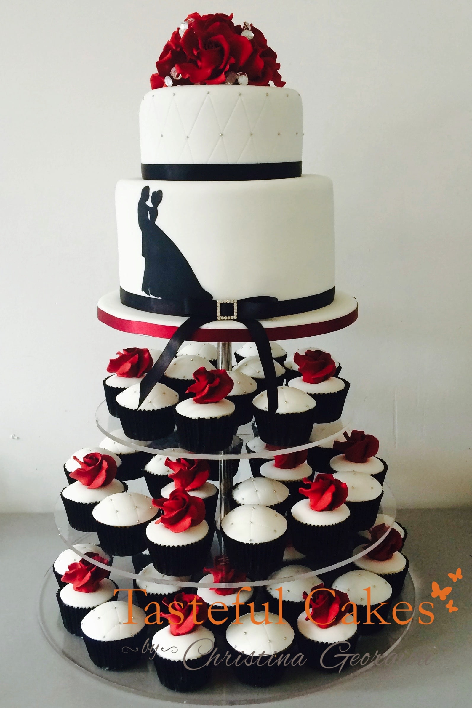 tasteful cakes by christina georgiou black red silhouette wedding cupcake tower. Black Bedroom Furniture Sets. Home Design Ideas
