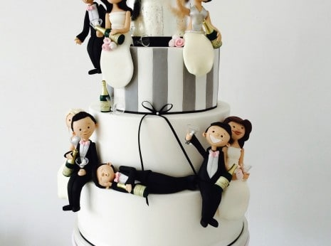 Funny wedding cake, funny drunk personalised handmade Bride and Groom toppers, Caricatures