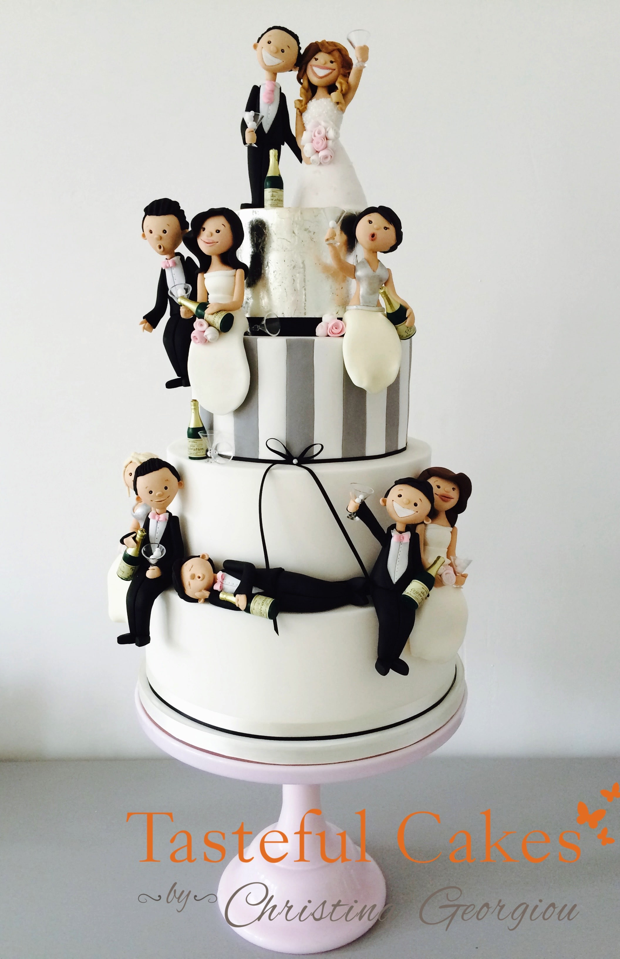 Tasteful cakes by christina georgiou funny drunk themed wedding funny wedding cake funny drunk personalised handmade bride and groom toppers caricatures junglespirit Image collections