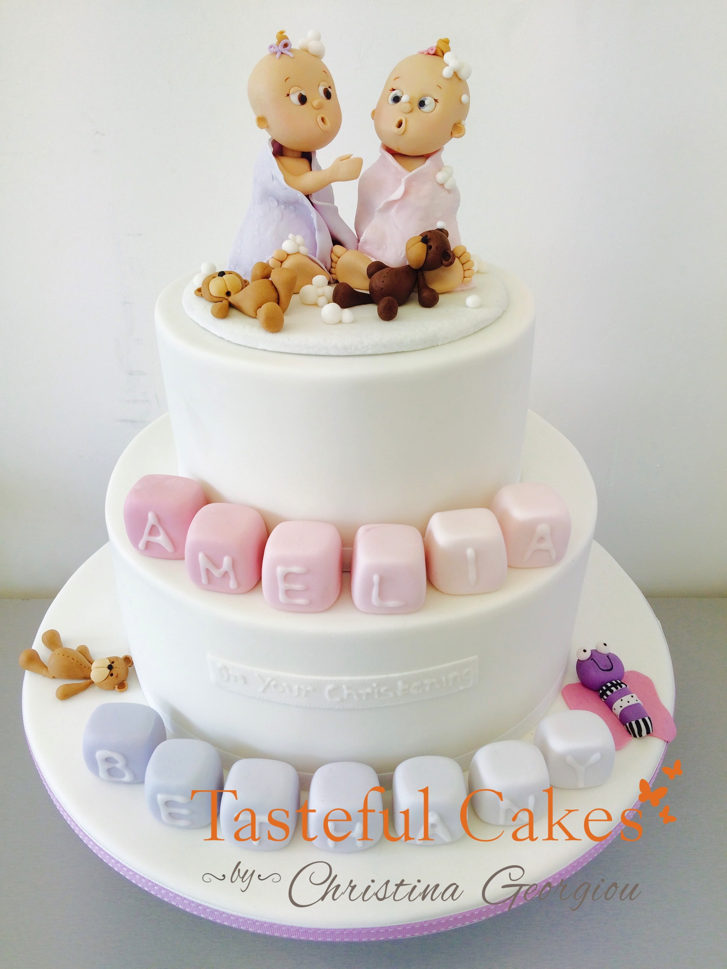 Twin Baby Cake Toppers And Christening With Block Names Teddy Bears