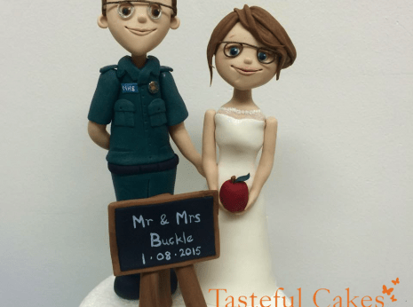 Fun Novelty Bride and Groom wedding cake topper