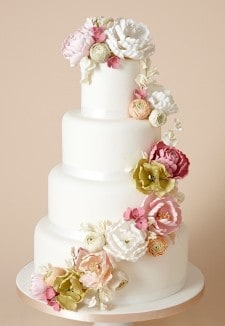 Cascading Spring Flower Wedding Cake (1)