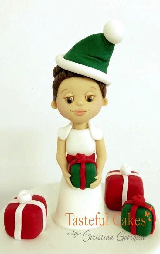 Christmas Fruit Cake. Sugar Modelling Santa