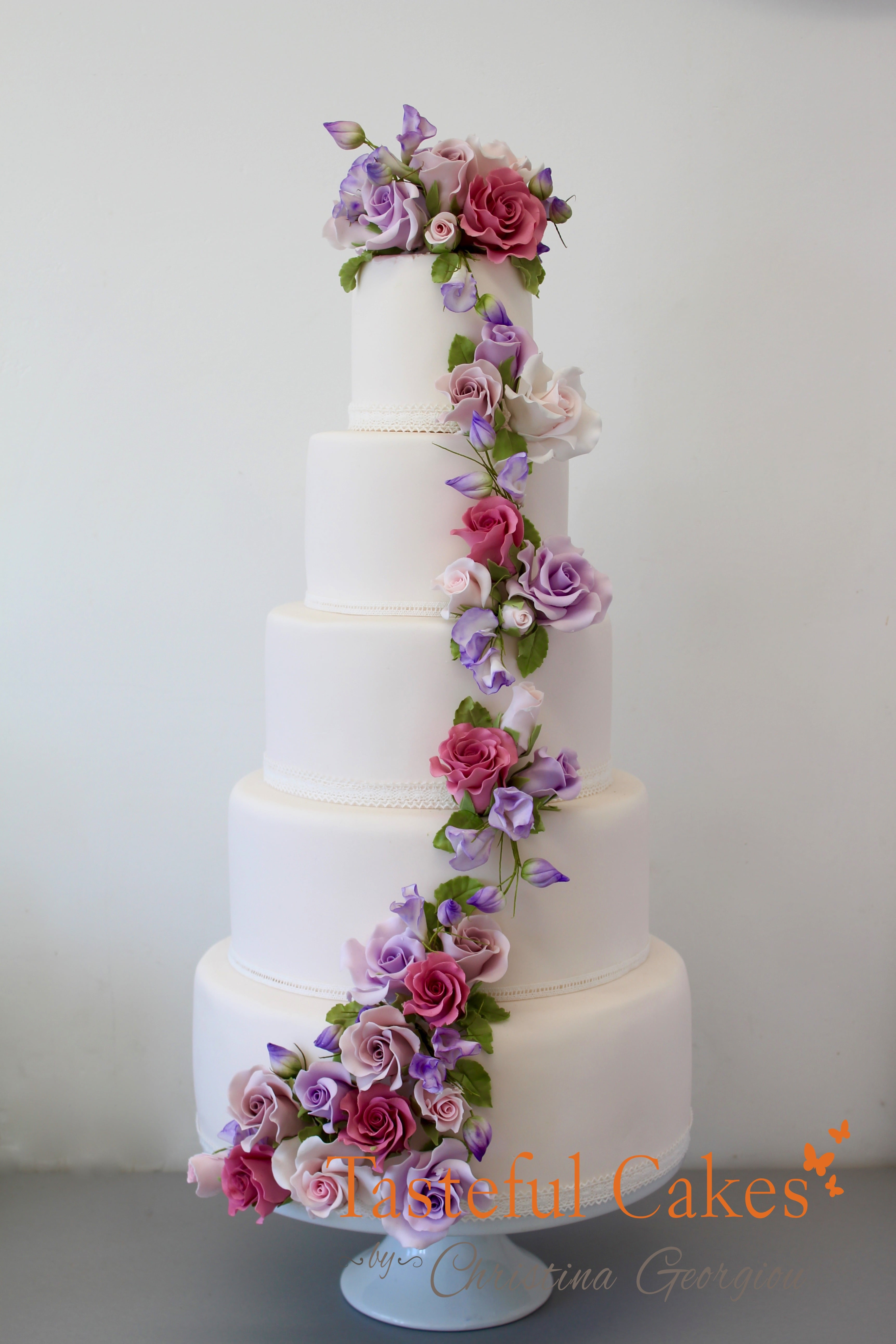 Tasteful Cakes By Christina Georgiou | Cascading Sugar Floral, Rose ...