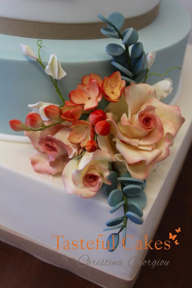 Sugar wired flowers, Five tier wedding cake, Vintage/ Retro Wedding Cake Design