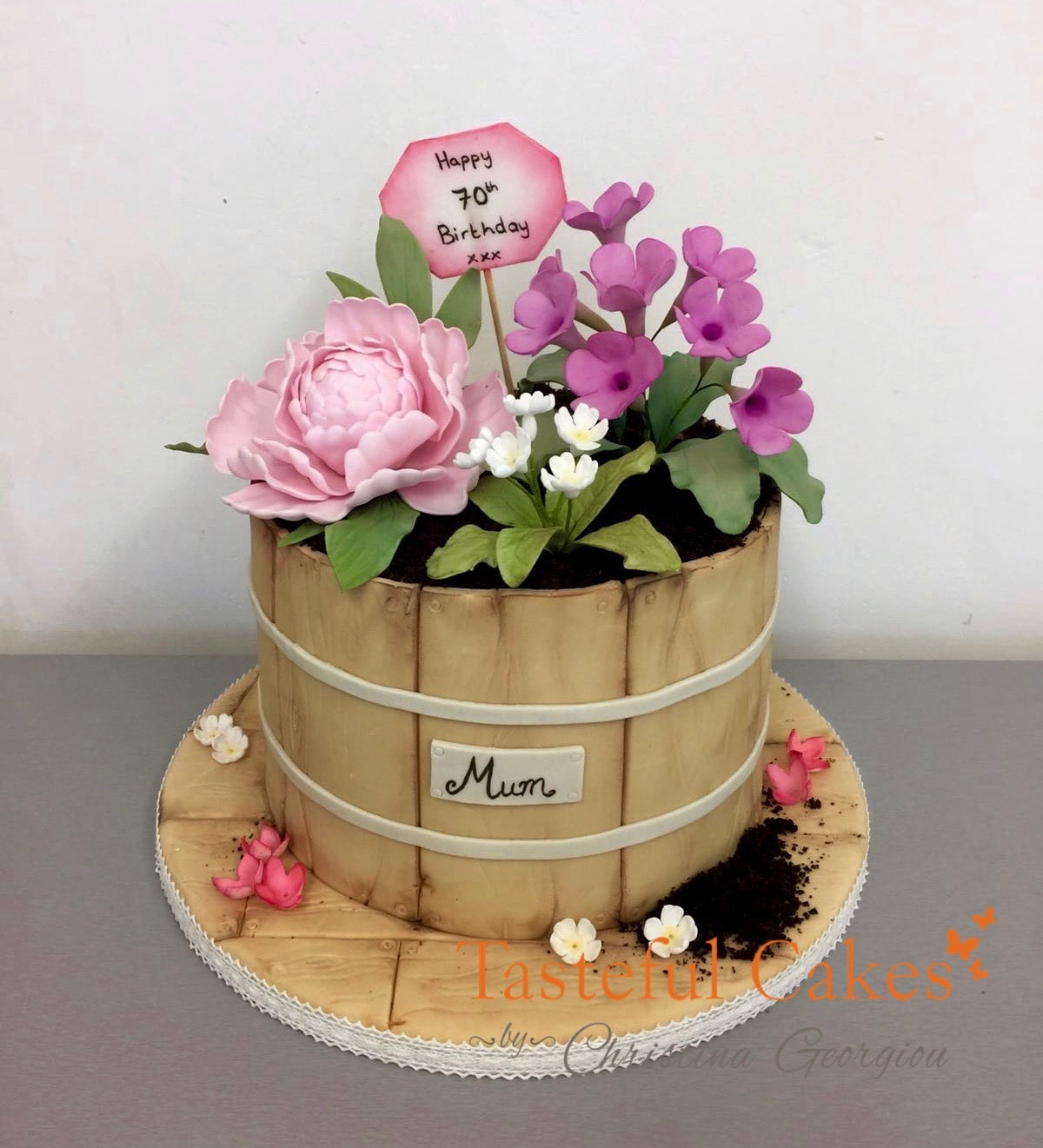 Tremendous Flowerpot Birthday Cake Mums 70Th Birthday Tasteful Cakes By Funny Birthday Cards Online Fluifree Goldxyz