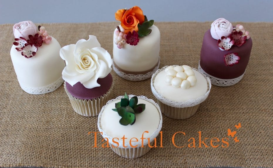 Autumnal floral mini cakes and cupcakes for a wedding cake