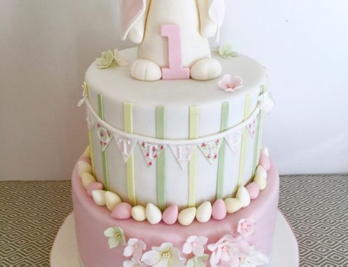 Pink 1st Birthday Cake With Bunny