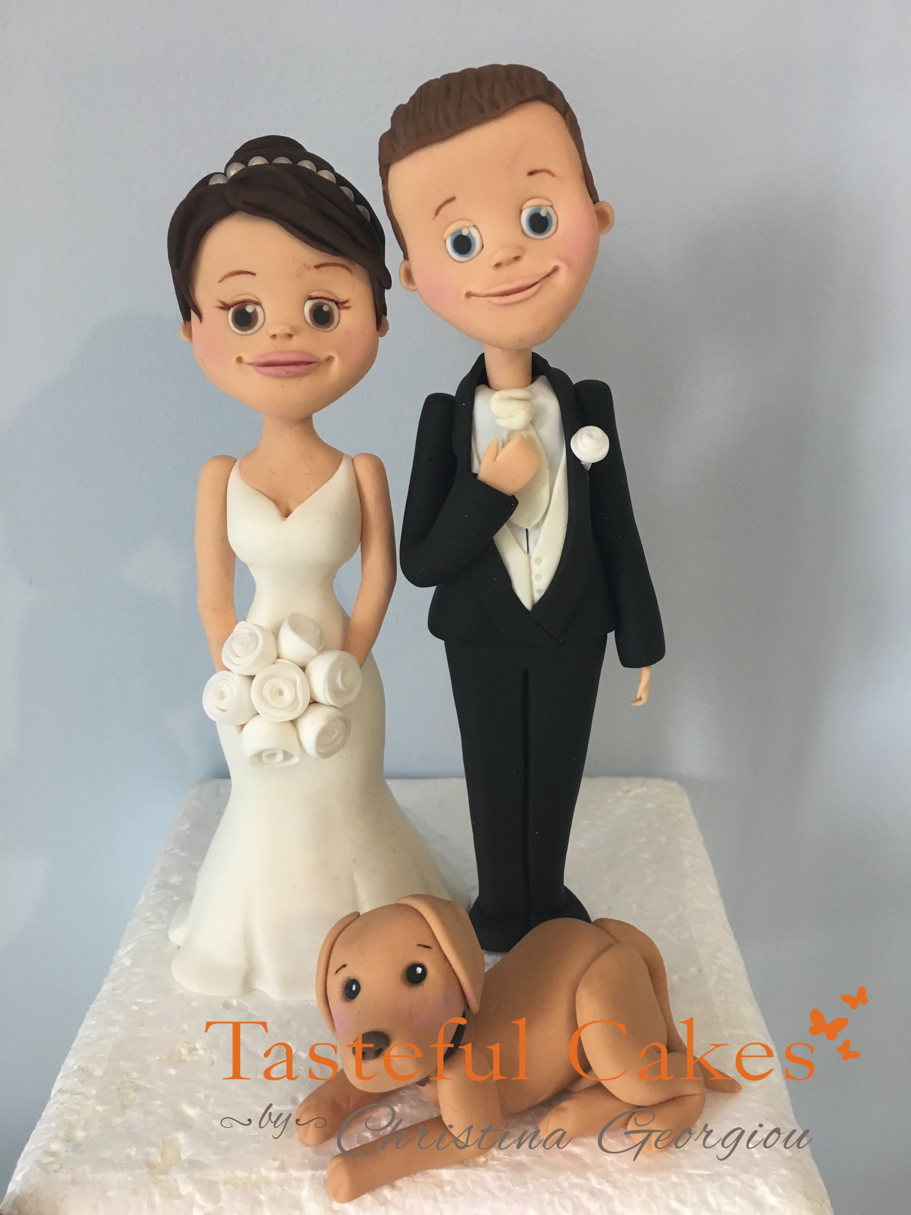 wedding cake topper with baby and dog cakes by georgiou bespoke 26653