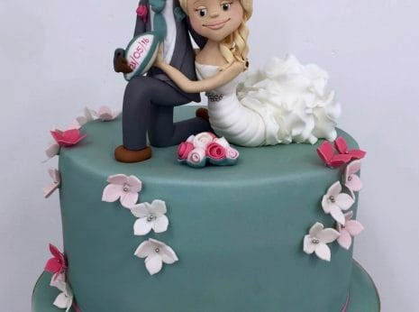 Personalised Bride And Groom Wedding Cake Topper Mermaid Style Dress Rugby