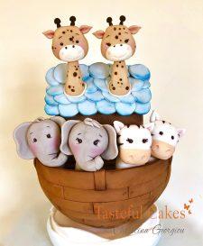 Noah ark christening cake,