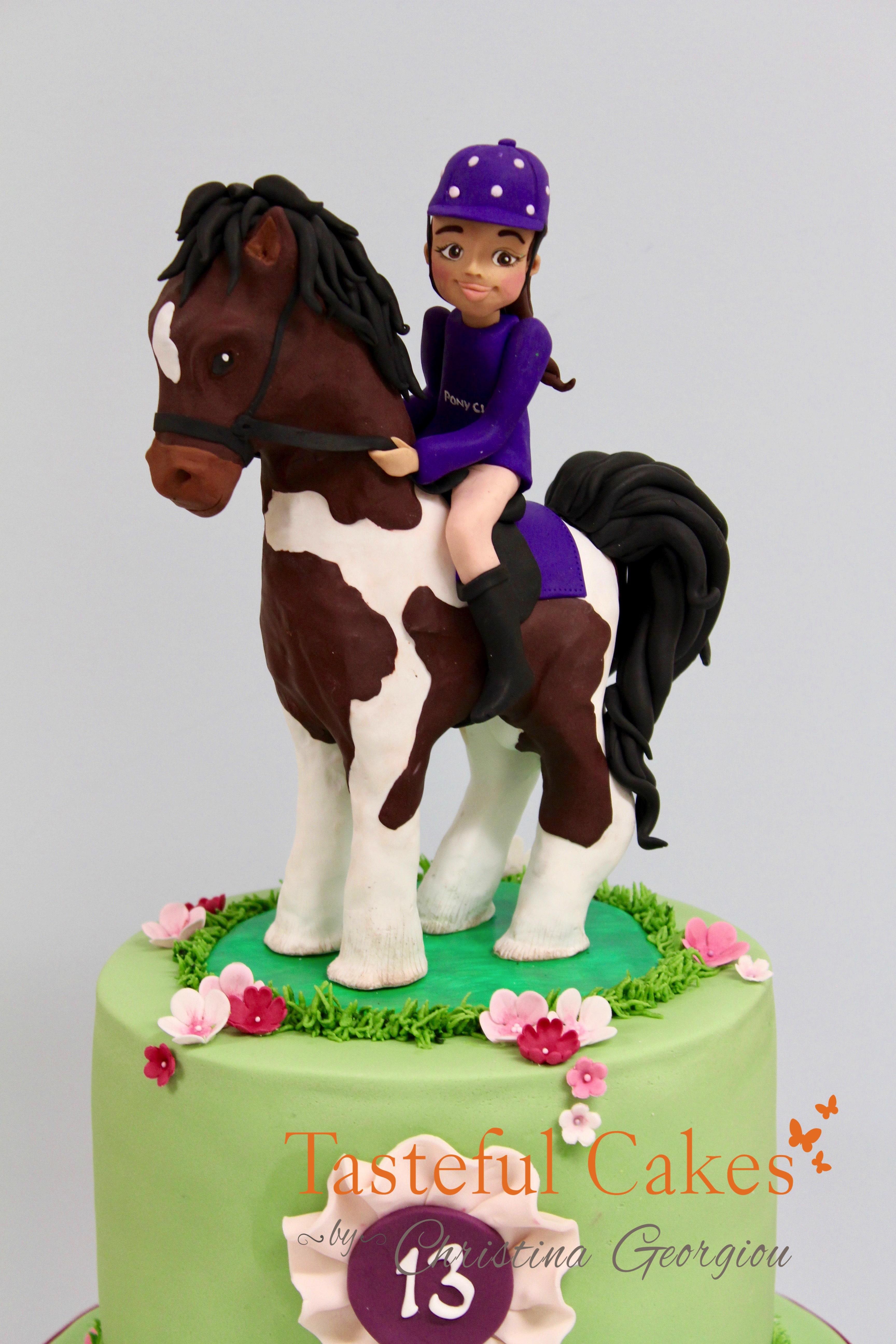 Fabulous Horse Pony Themed Birthday Cake Tasteful Cakes By Christina Georgiou Personalised Birthday Cards Veneteletsinfo
