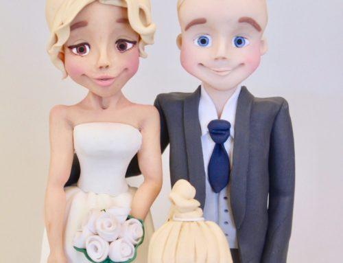 Personalised Bride & Groom with Flower Girl – Wedding Cake Topper